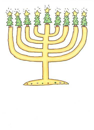 Shine Bright Funny Holiday Card  Christmas Tree Menorah | Holidays, seasons, winter, bright